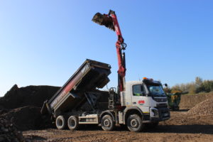 Unloading material at Shorncote Quarry inert tipping area